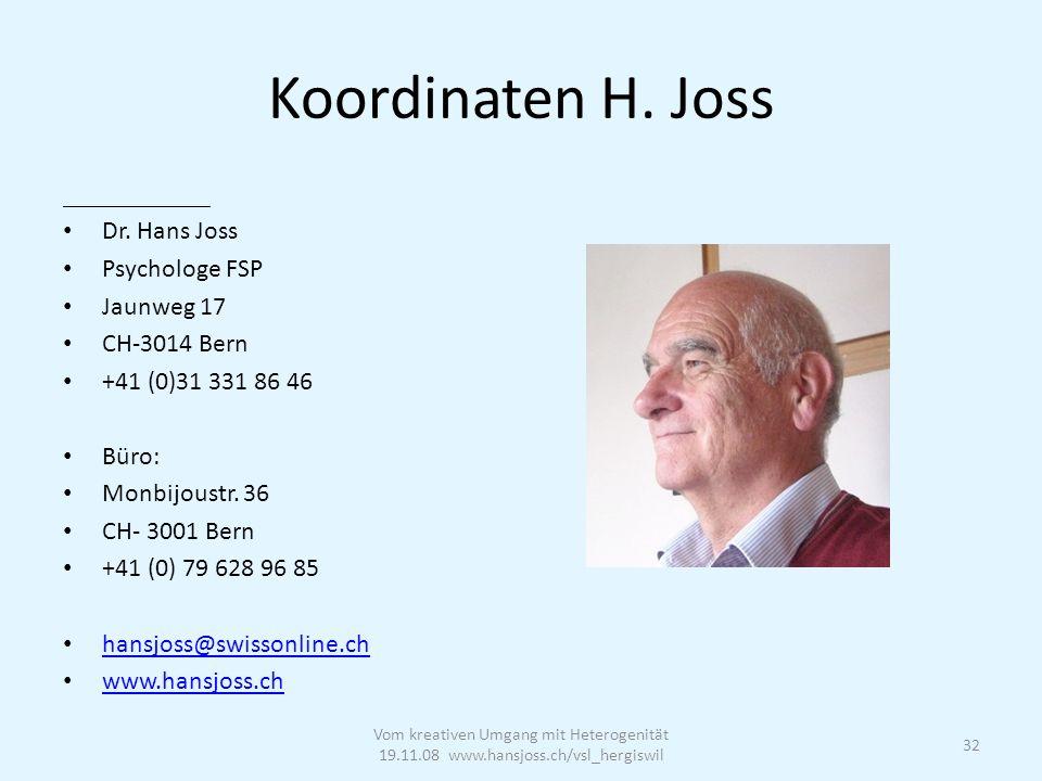 Koordinaten H. Joss _________________ Dr.