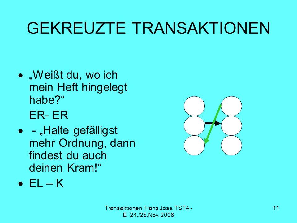 Transaktionen Hans Joss, TSTA - E 24./25.Nov. 2006 11 GEKREUZTE TRANSAKTIONEN Weißt du, wo ich mein Heft hingelegt habe? ER- ER - Halte gefälligst meh