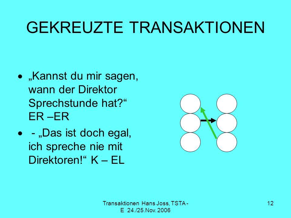 Transaktionen Hans Joss, TSTA - E 24./25.Nov. 2006 12 GEKREUZTE TRANSAKTIONEN Kannst du mir sagen, wann der Direktor Sprechstunde hat? ER –ER - Das is