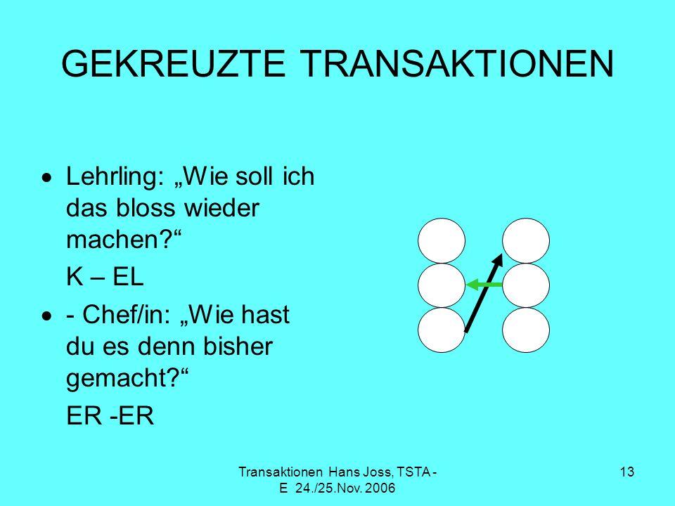 Transaktionen Hans Joss, TSTA - E 24./25.Nov. 2006 13 GEKREUZTE TRANSAKTIONEN Lehrling: Wie soll ich das bloss wieder machen? K – EL - Chef/in: Wie ha