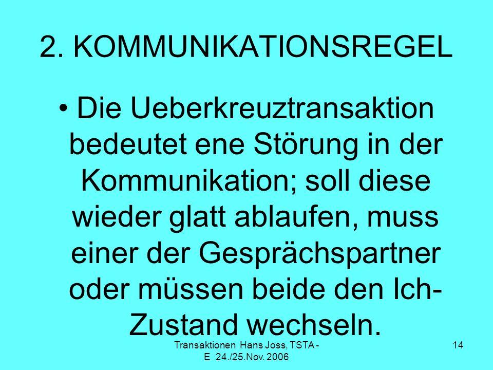 Transaktionen Hans Joss, TSTA - E 24./25.Nov. 2006 14 2. KOMMUNIKATIONSREGEL Die Ueberkreuztransaktion bedeutet ene Störung in der Kommunikation; soll
