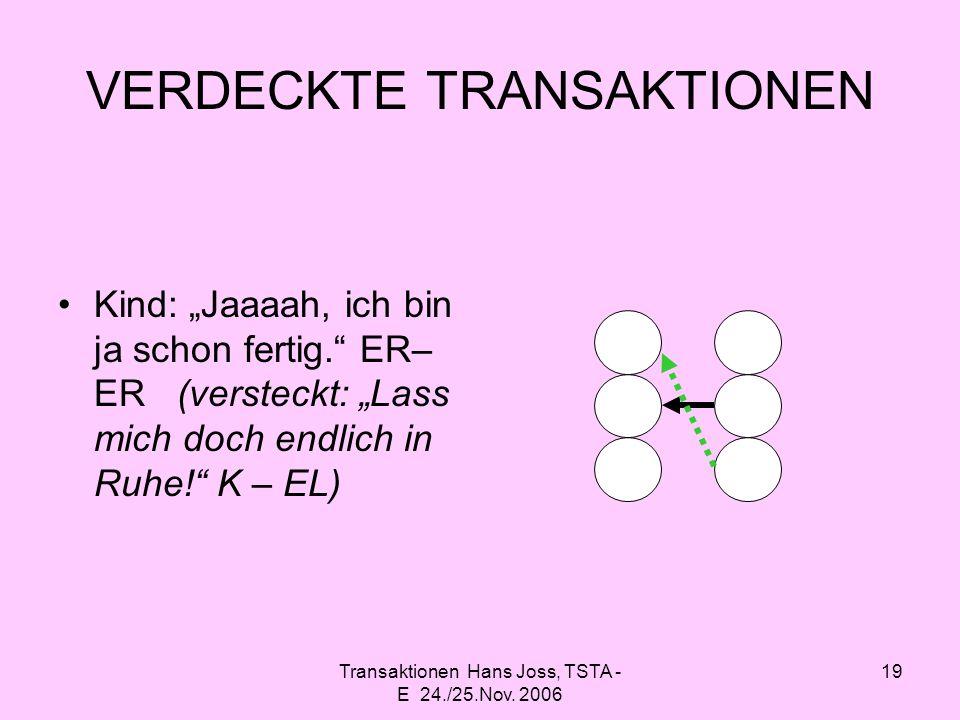 Transaktionen Hans Joss, TSTA - E 24./25.Nov. 2006 19 VERDECKTE TRANSAKTIONEN Kind: Jaaaah, ich bin ja schon fertig. ER– ER (versteckt: Lass mich doch