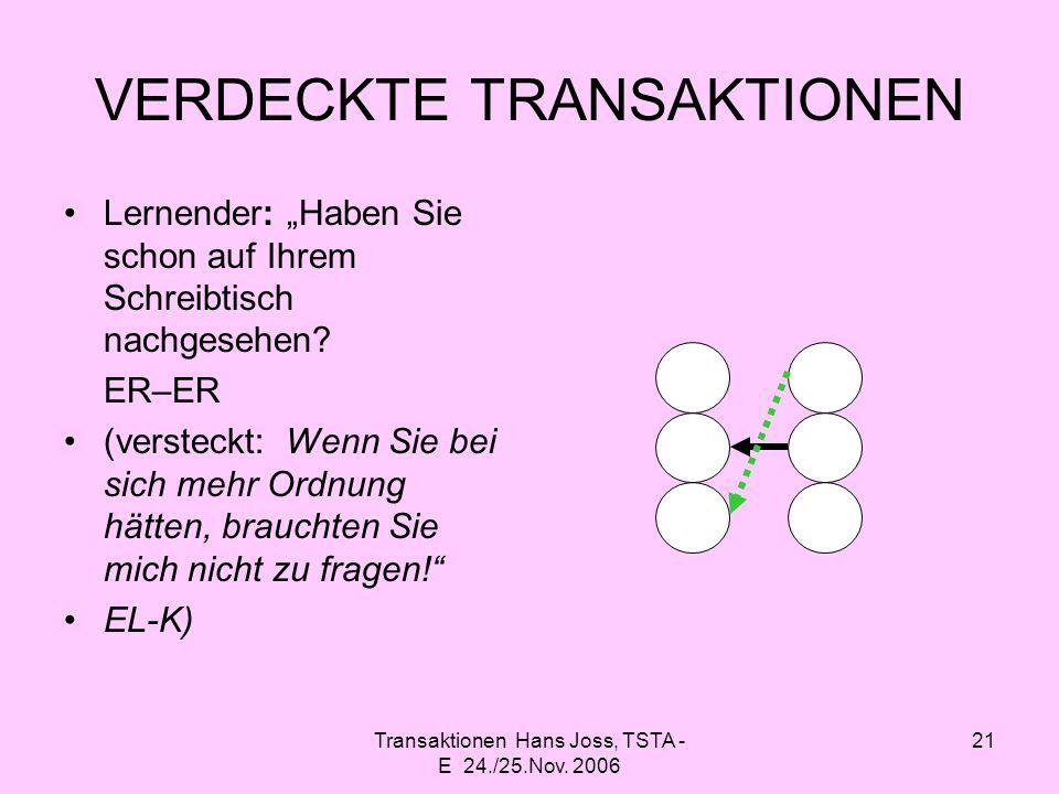 Transaktionen Hans Joss, TSTA - E 24./25.Nov. 2006 21 VERDECKTE TRANSAKTIONEN Lernender: Haben Sie schon auf Ihrem Schreibtisch nachgesehen? ER–ER (ve