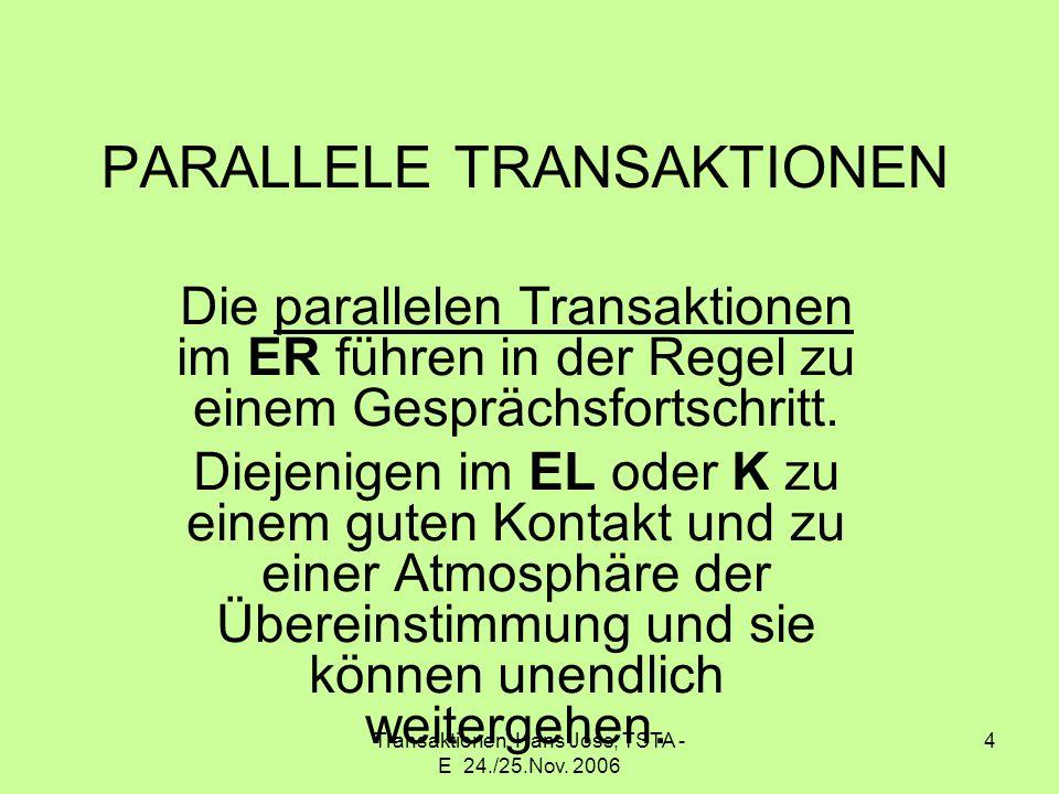 Transaktionen Hans Joss, TSTA - E 24./25.Nov. 2006 4 PARALLELE TRANSAKTIONEN Die parallelen Transaktionen im ER führen in der Regel zu einem Gesprächs