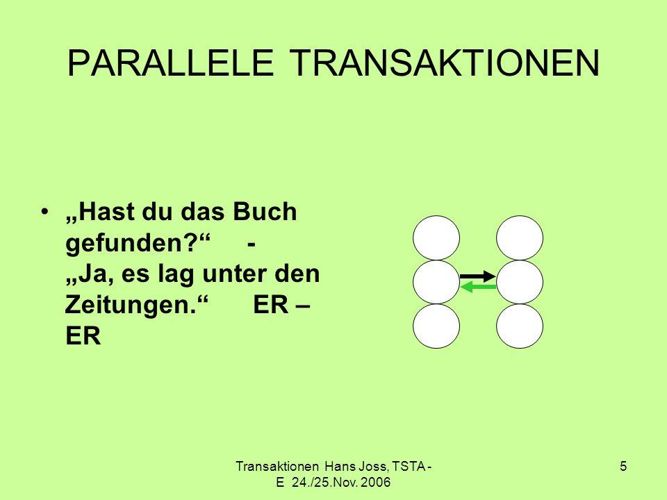 Transaktionen Hans Joss, TSTA - E 24./25.Nov. 2006 5 PARALLELE TRANSAKTIONEN Hast du das Buch gefunden? - Ja, es lag unter den Zeitungen. ER – ER