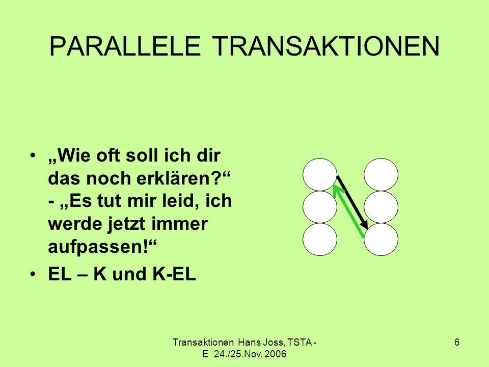Transaktionen Hans Joss, TSTA - E 24./25.Nov. 2006 6 PARALLELE TRANSAKTIONEN Wie oft soll ich dir das noch erklären? - Es tut mir leid, ich werde jetz