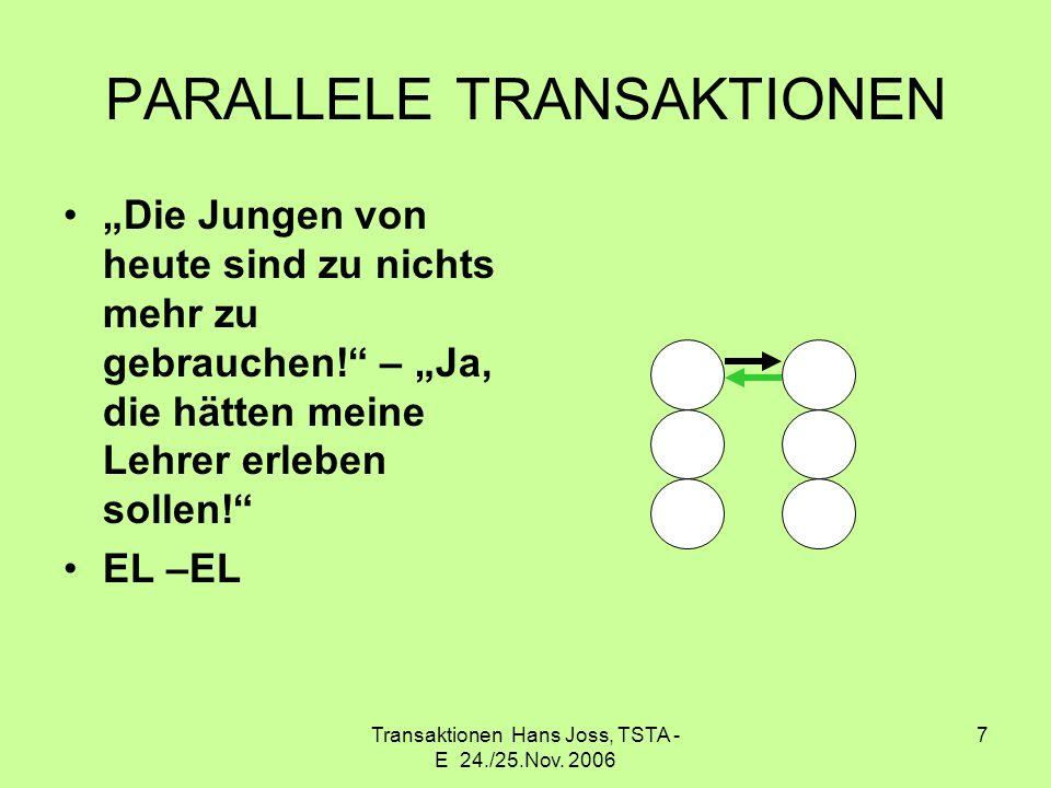 Transaktionen Hans Joss, TSTA - E 24./25.Nov. 2006 7 PARALLELE TRANSAKTIONEN Die Jungen von heute sind zu nichts mehr zu gebrauchen! – Ja, die hätten