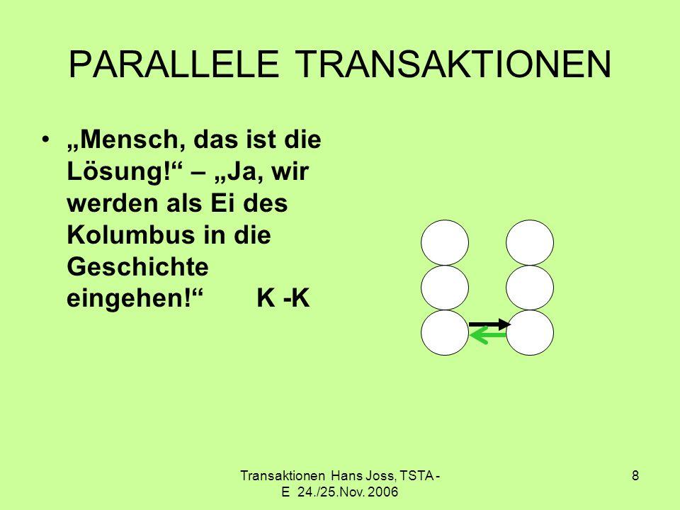 Transaktionen Hans Joss, TSTA - E 24./25.Nov. 2006 8 PARALLELE TRANSAKTIONEN Mensch, das ist die Lösung! – Ja, wir werden als Ei des Kolumbus in die G