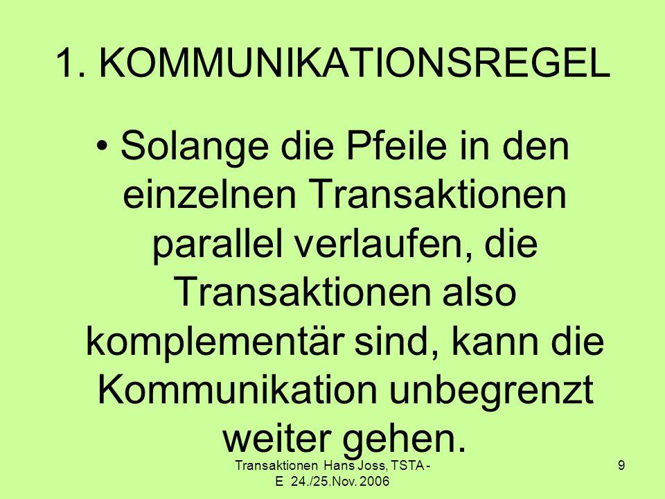 Transaktionen Hans Joss, TSTA - E 24./25.Nov. 2006 9 1. KOMMUNIKATIONSREGEL Solange die Pfeile in den einzelnen Transaktionen parallel verlaufen, die