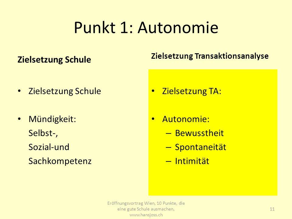Punkt 1: Autonomie Zielsetzung Schule Mündigkeit: Selbst-, Sozial-und Sachkompetenz Zielsetzung Transaktionsanalyse Zielsetzung TA: Autonomie: – Bewus