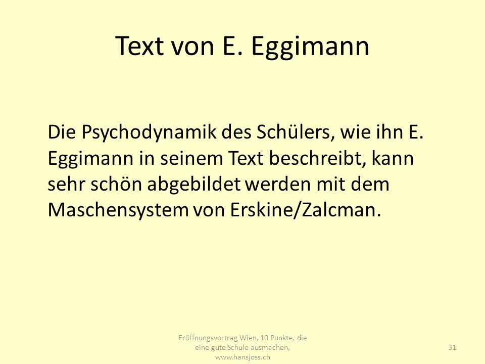 Text von E. Eggimann Die Psychodynamik des Schülers, wie ihn E. Eggimann in seinem Text beschreibt, kann sehr schön abgebildet werden mit dem Maschens