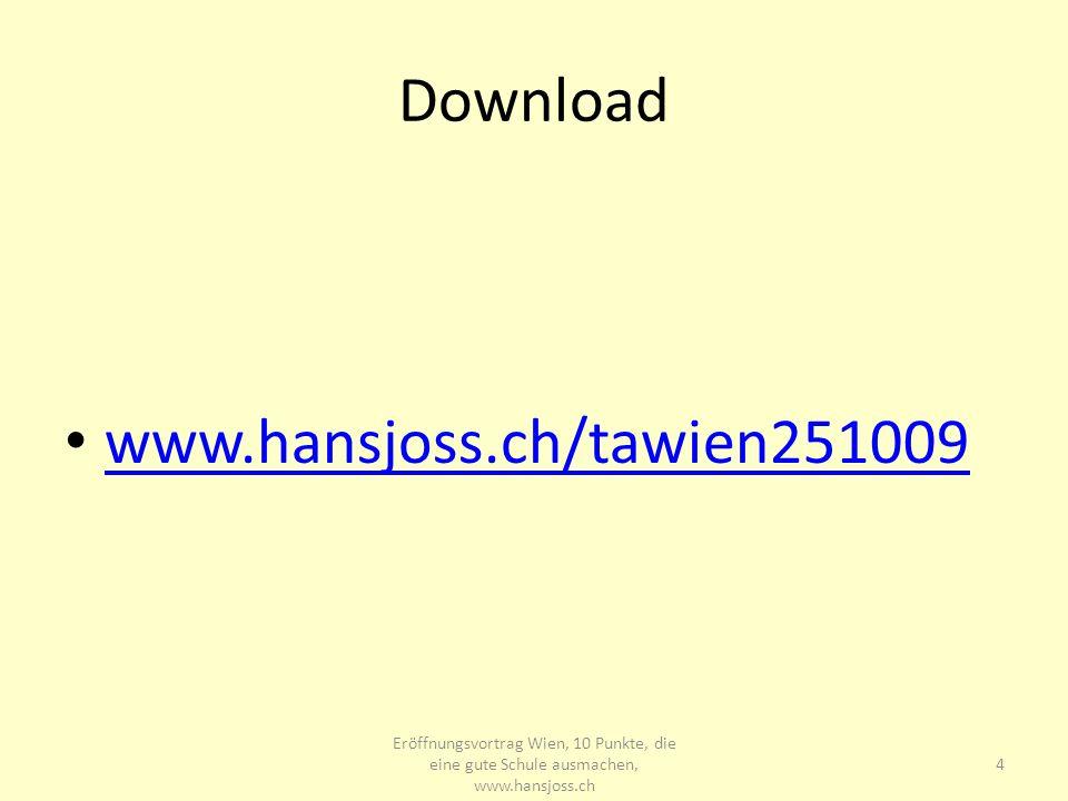 Download www.hansjoss.ch/tawien251009 Eröffnungsvortrag Wien, 10 Punkte, die eine gute Schule ausmachen, www.hansjoss.ch 4