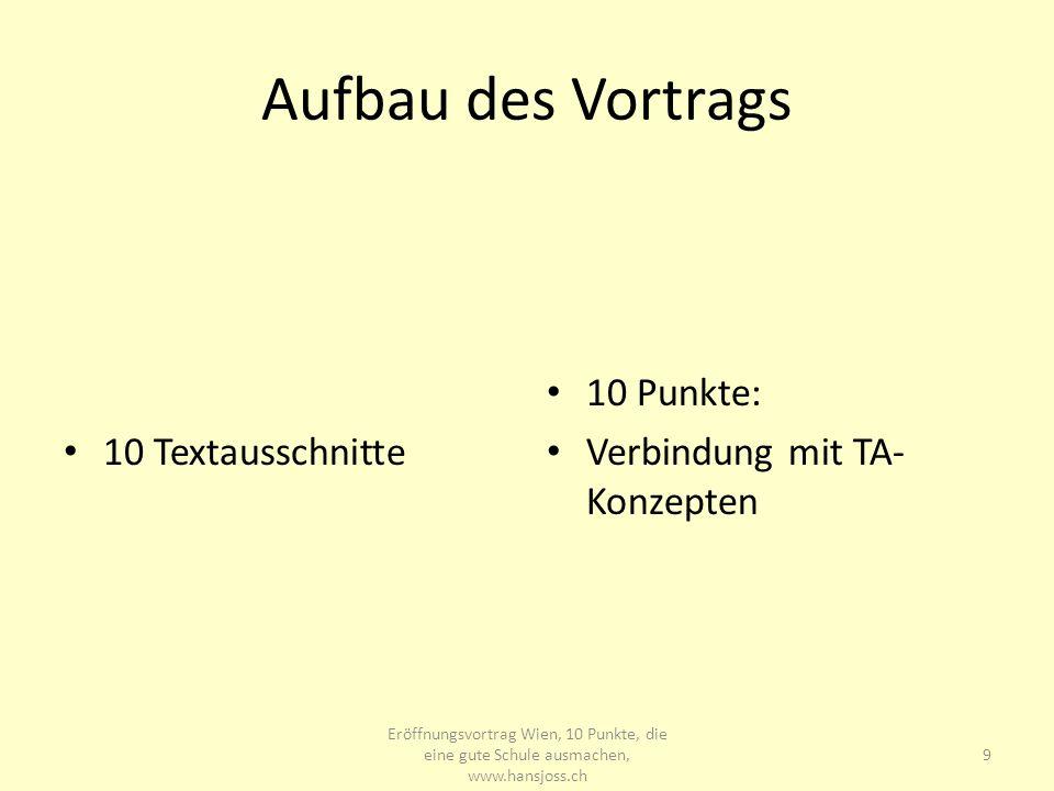 Aufbau des Vortrags 10 Textausschnitte 10 Punkte: Verbindung mit TA- Konzepten Eröffnungsvortrag Wien, 10 Punkte, die eine gute Schule ausmachen, www.