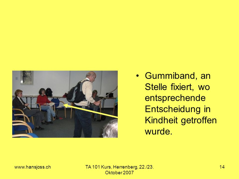www.hansjoss.chTA 101 Kurs, Herrenberg, 22./23. Oktober 2007 14 Gummiband, an Stelle fixiert, wo entsprechende Entscheidung in Kindheit getroffen wurd
