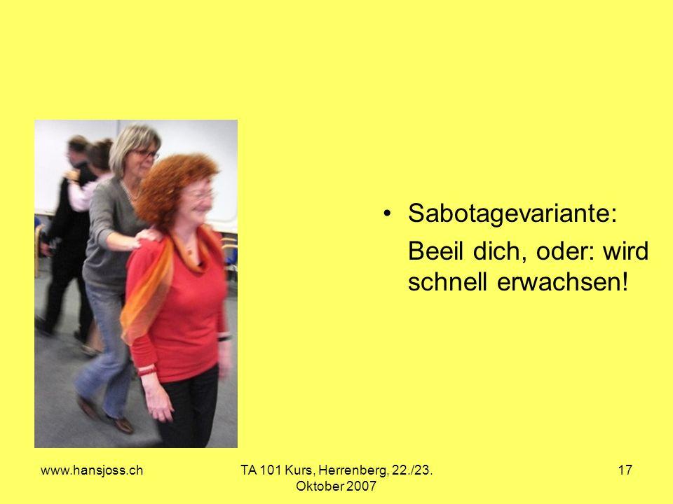 www.hansjoss.chTA 101 Kurs, Herrenberg, 22./23. Oktober 2007 17 Sabotagevariante: Beeil dich, oder: wird schnell erwachsen!