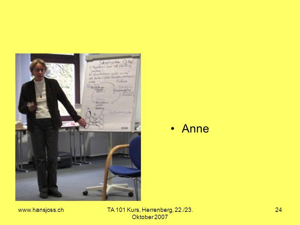 www.hansjoss.chTA 101 Kurs, Herrenberg, 22./23. Oktober 2007 24 Anne