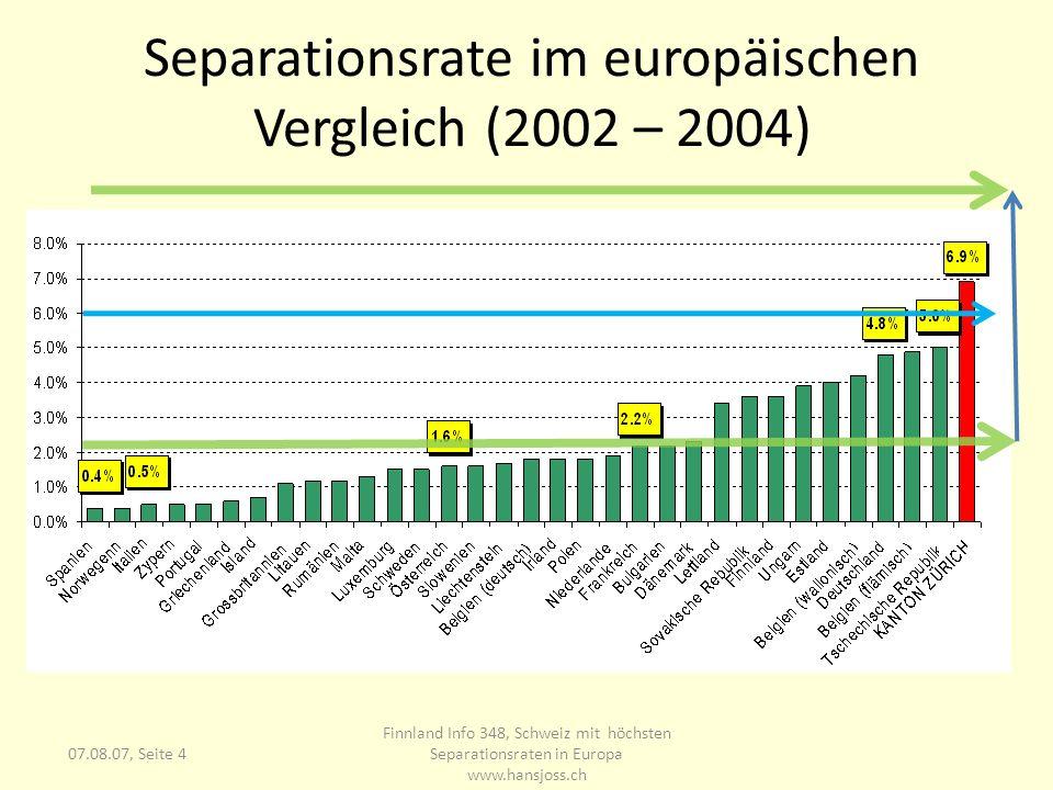 07.08.07, Seite 4 Separationsrate im europäischen Vergleich (2002 – 2004) Finnland Info 348, Schweiz mit höchsten Separationsraten in Europa www.hansj