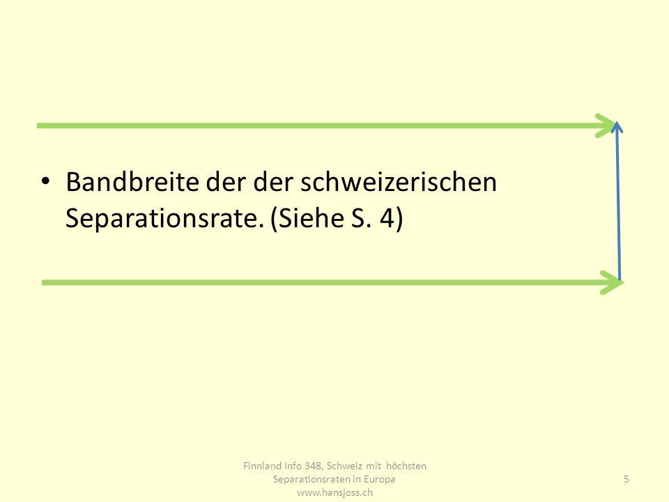 Bandbreite der der schweizerischen Separationsrate. (Siehe S. 4) 5 Finnland Info 348, Schweiz mit höchsten Separationsraten in Europa www.hansjoss.ch