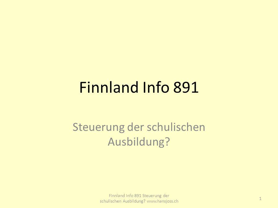 Finnland Info 891 Steuerung der schulischen Ausbildung.
