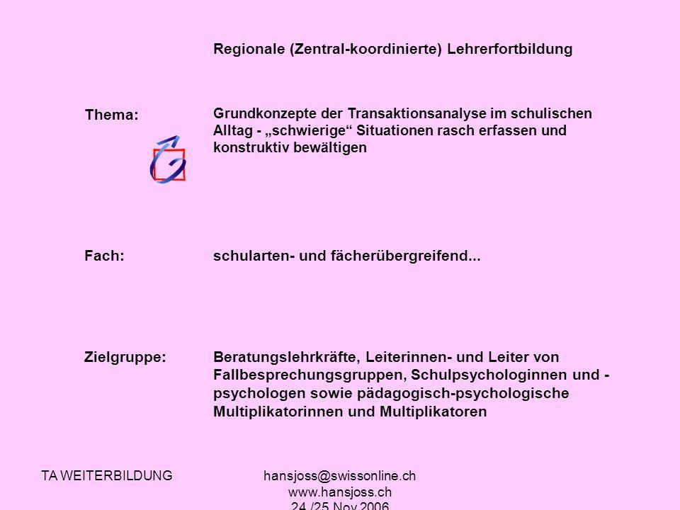 TA WEITERBILDUNGhansjoss@swissonline.ch www.hansjoss.ch 24./25.Nov.2006 Regionale (Zentral-koordinierte) Lehrerfortbildung Thema: Grundkonzepte der Tr