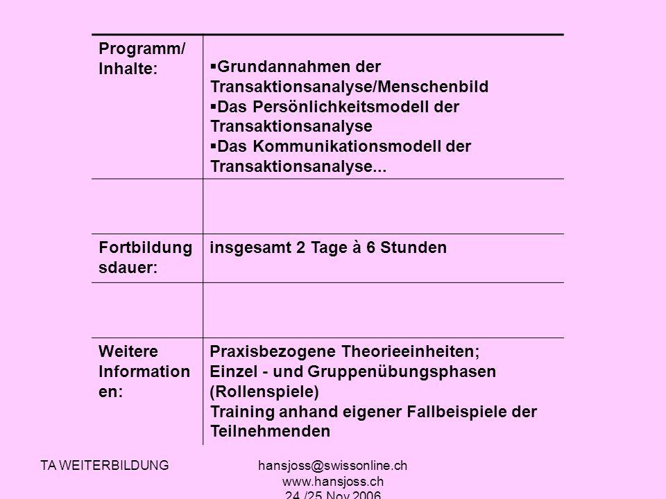 TA WEITERBILDUNGhansjoss@swissonline.ch www.hansjoss.ch 24./25.Nov.2006 Programm/ Inhalte: Grundannahmen der Transaktionsanalyse/Menschenbild Das Pers