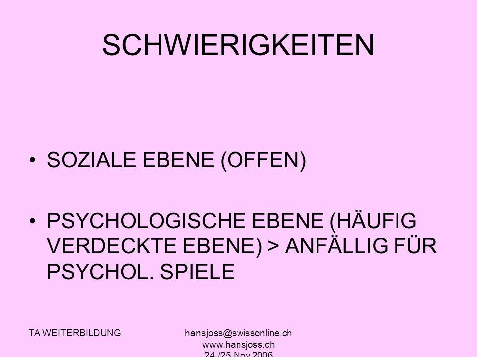 TA WEITERBILDUNGhansjoss@swissonline.ch www.hansjoss.ch 24./25.Nov.2006 SCHWIERIGKEITEN SOZIALE EBENE (OFFEN) PSYCHOLOGISCHE EBENE (HÄUFIG VERDECKTE E