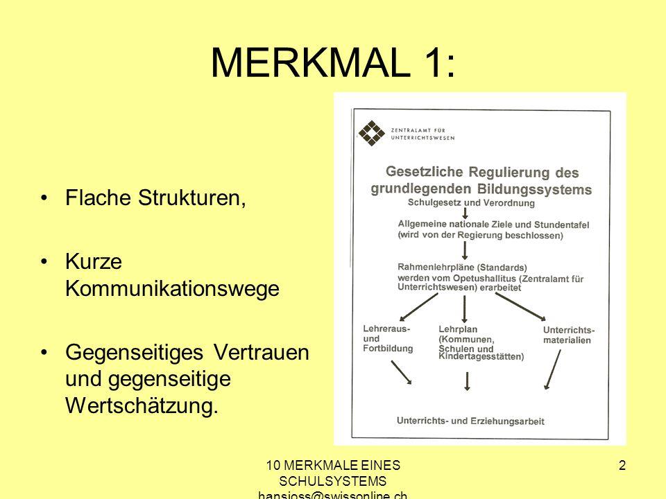 10 MERKMALE EINES SCHULSYSTEMS hansjoss@swissonline.ch 2 MERKMAL 1: Flache Strukturen, Kurze Kommunikationswege Gegenseitiges Vertrauen und gegenseiti