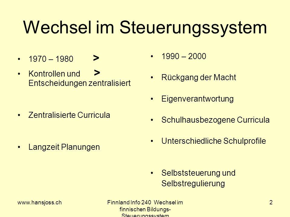 www.hansjoss.chFinnland Info 240 Wechsel im finnischen Bildungs- Steuerungssystem 2 Wechsel im Steuerungssystem 1970 – 1980 > Kontrollen und > Entsche