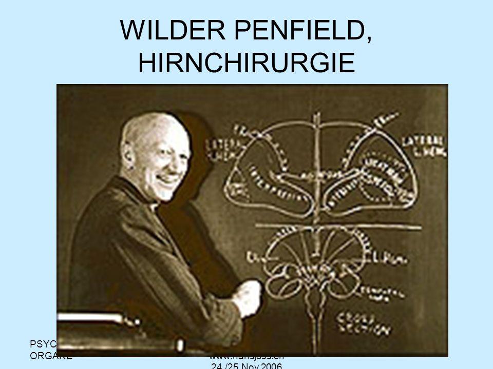 PSYCHISCHE ORGANE hansjoss@swissonline.ch www.hansjoss.ch 24./25.Nov.2006 WILDER PENFIELD Wilder Penfield, a pioneering brain surgeon, mapped the motor cortex using mild electric current.