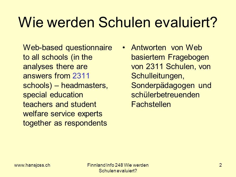 www.hansjoss.chFinnland Info 248 Wie werden Schulen evaluiert? 2 Wie werden Schulen evaluiert? Web-based questionnaire to all schools (in the analyses