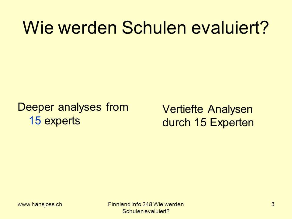 www.hansjoss.chFinnland Info 248 Wie werden Schulen evaluiert? 3 Wie werden Schulen evaluiert? Deeper analyses from 15 experts Vertiefte Analysen durc