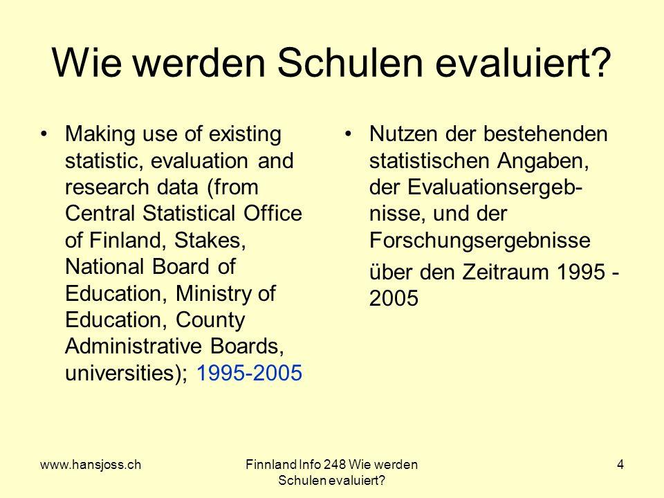 www.hansjoss.chFinnland Info 248 Wie werden Schulen evaluiert? 4 Wie werden Schulen evaluiert? Making use of existing statistic, evaluation and resear