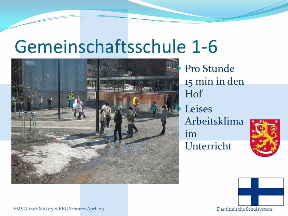 FMS Altach Mai 09 & BRG Schoren April 09 Das finnische Schulsystem Gemeinschaftsschule 1-6 Pro Stunde 15 min in den Hof Leises Arbeitsklima im Unterricht