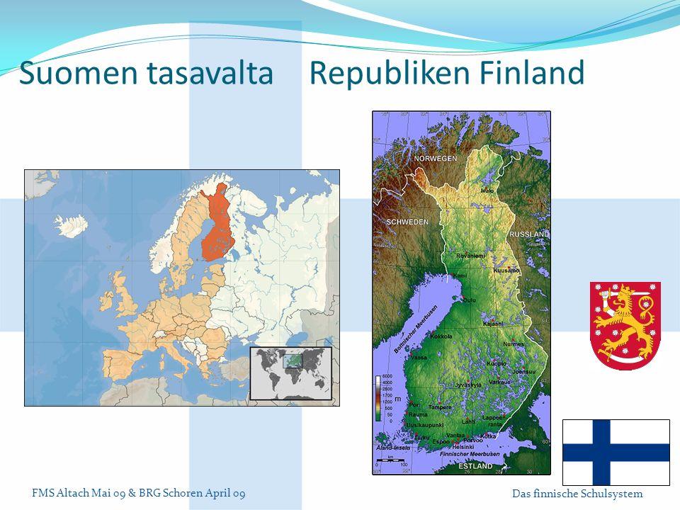 FMS Altach Mai 09 & BRG Schoren April 09 Das finnische Schulsystem Suomen tasavalta Republiken Finland