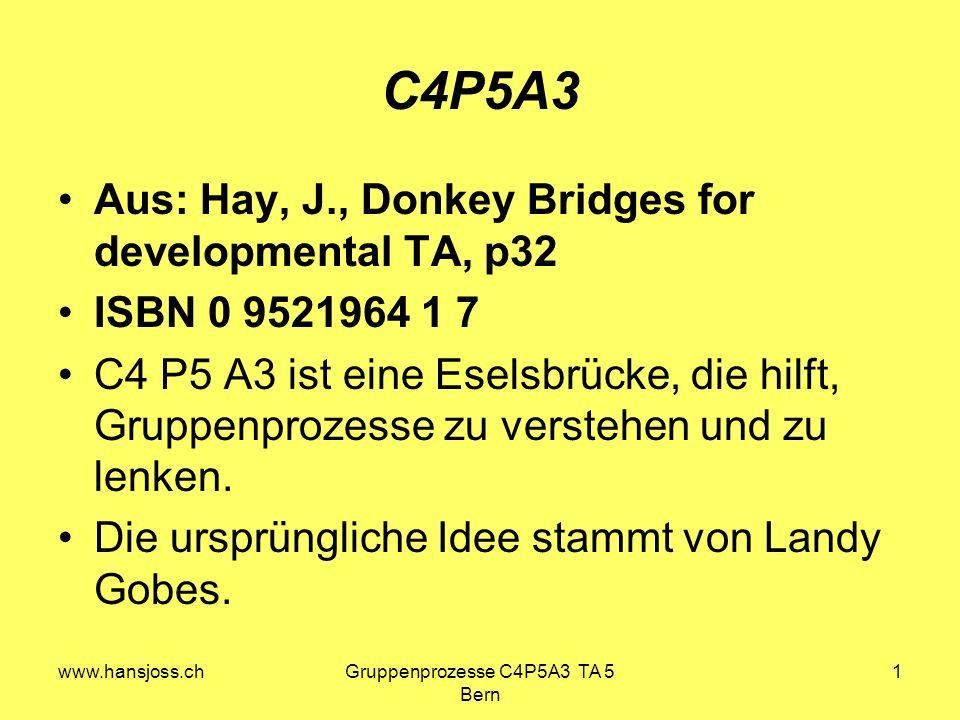www.hansjoss.chGruppenprozesse C4P5A3 TA 5 Bern 1 C4P5A3 Aus: Hay, J., Donkey Bridges for developmental TA, p32 ISBN 0 9521964 1 7 C4 P5 A3 ist eine Eselsbrücke, die hilft, Gruppenprozesse zu verstehen und zu lenken.
