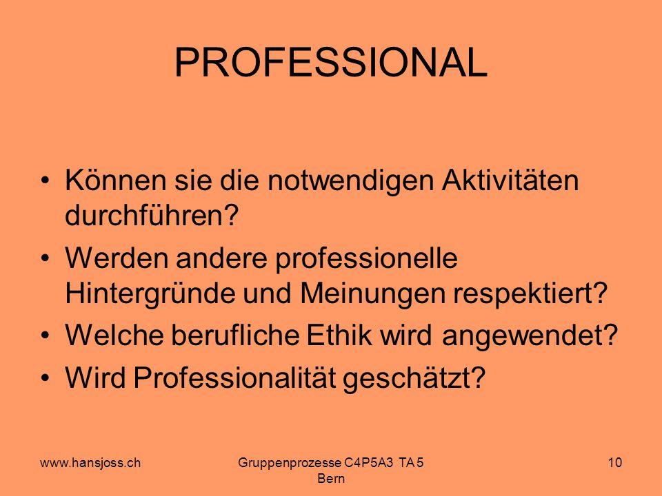 www.hansjoss.chGruppenprozesse C4P5A3 TA 5 Bern 10 PROFESSIONAL Können sie die notwendigen Aktivitäten durchführen.