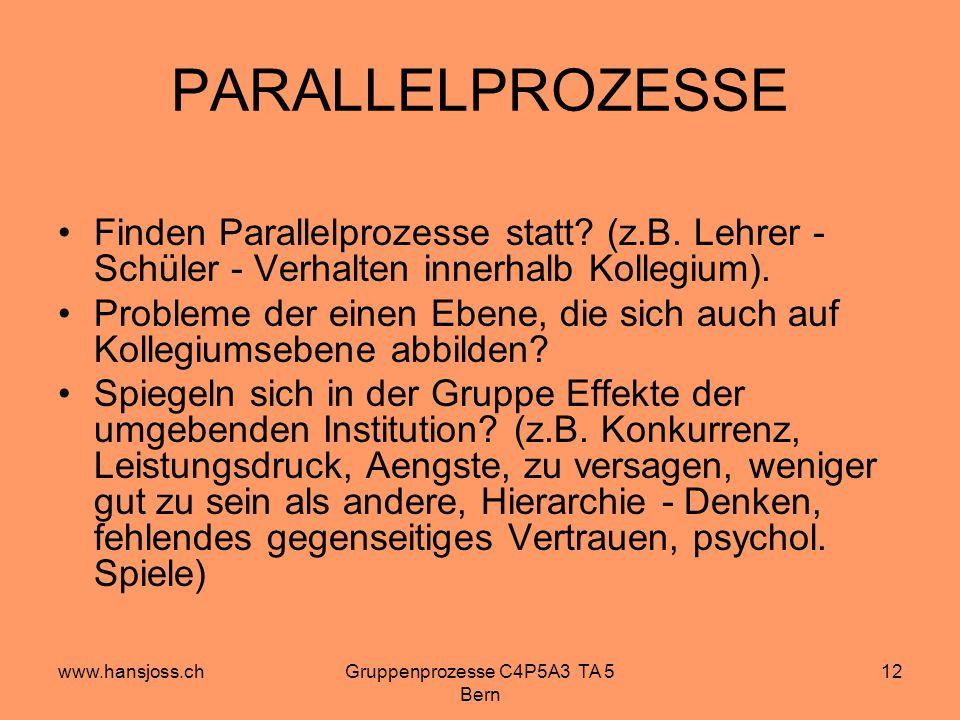 www.hansjoss.chGruppenprozesse C4P5A3 TA 5 Bern 12 PARALLELPROZESSE Finden Parallelprozesse statt.