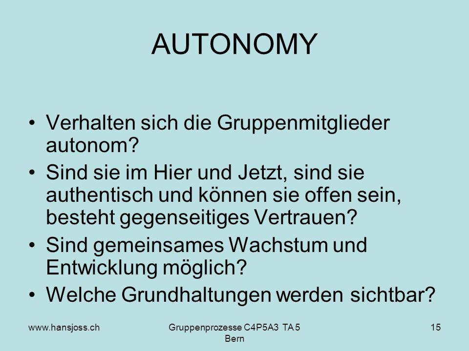 www.hansjoss.chGruppenprozesse C4P5A3 TA 5 Bern 15 AUTONOMY Verhalten sich die Gruppenmitglieder autonom.