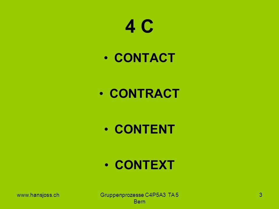 www.hansjoss.chGruppenprozesse C4P5A3 TA 5 Bern 3 4 C CONTACT CONTRACT CONTENT CONTEXT