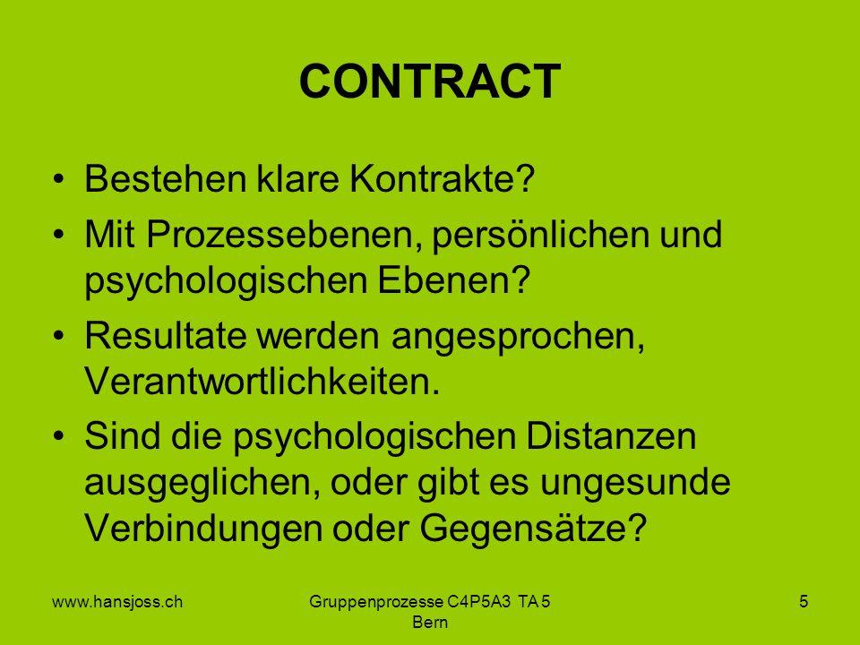 www.hansjoss.chGruppenprozesse C4P5A3 TA 5 Bern 5 CONTRACT Bestehen klare Kontrakte.