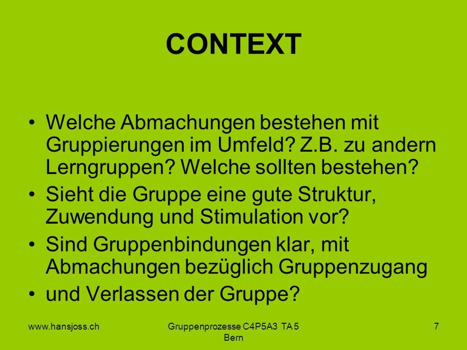 www.hansjoss.chGruppenprozesse C4P5A3 TA 5 Bern 7 CONTEXT Welche Abmachungen bestehen mit Gruppierungen im Umfeld.