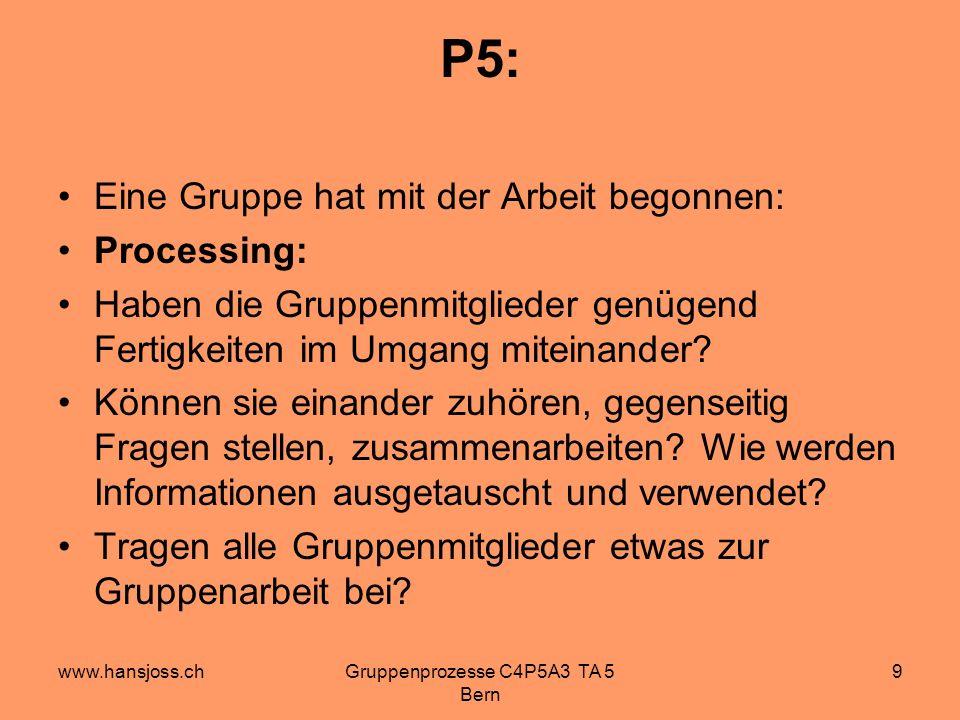 www.hansjoss.chGruppenprozesse C4P5A3 TA 5 Bern 9 P5: Eine Gruppe hat mit der Arbeit begonnen: Processing: Haben die Gruppenmitglieder genügend Fertigkeiten im Umgang miteinander.