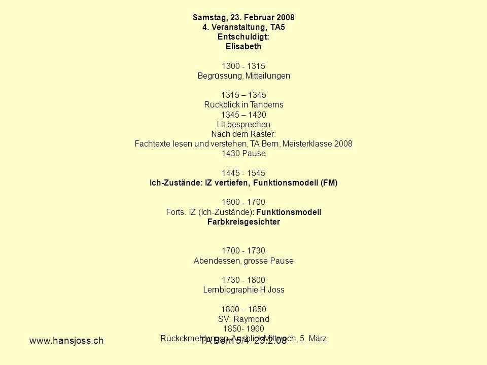 www.hansjoss.chTA Bern 5/4 23.2.08 Samstag, 23. Februar 2008 4. Veranstaltung, TA5 Entschuldigt: Elisabeth 1300 - 1315 Begrüssung, Mitteilungen 1315 –