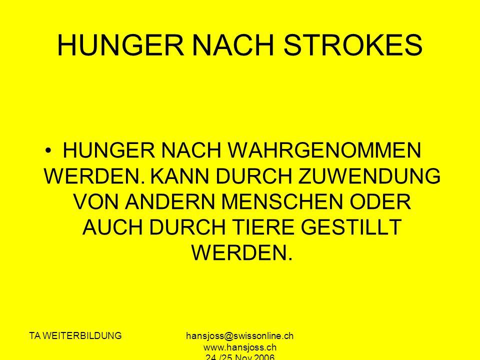 TA WEITERBILDUNGhansjoss@swissonline.ch www.hansjoss.ch 24./25.Nov.2006 HUNGER NACH STROKES HUNGER NACH WAHRGENOMMEN WERDEN.