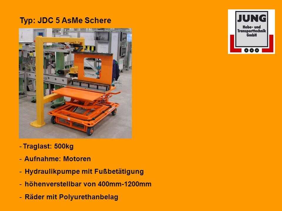 Typ: JDC 5 AsMe Schere -Traglast: 500kg - Aufnahme: Motoren - Hydraulikpumpe mit Fußbetätigung - höhenverstellbar von 400mm-1200mm - Räder mit Polyurethanbelag