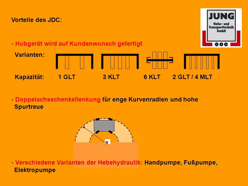 R Vorteile des JDC: - Hubgerät wird auf Kundenwunsch gefertigt Varianten: Kapazität: 1 GLT 3 KLT 6 KLT 2 GLT / 4 MLT - Doppelachsschenkellenkung für enge Kurvenradien und hohe Spurtreue - Verschiedene Varianten der Hebehydraulik: Handpumpe, Fußpumpe, Elektropumpe