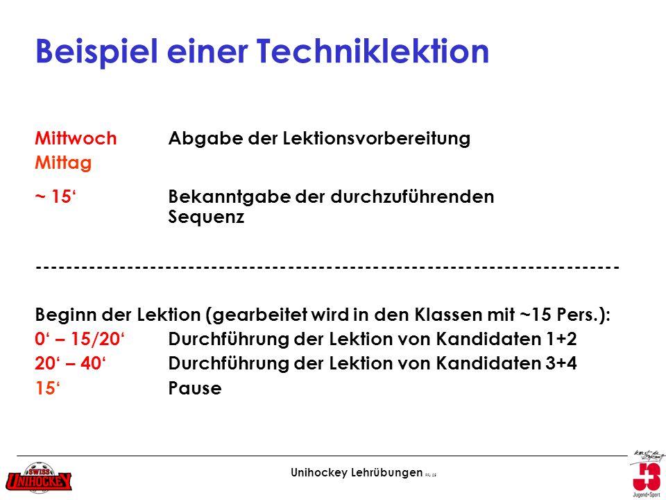 Unihockey Lehrübungen RFu 05 Beispiel einer Techniklektion Mittwoch Abgabe der Lektionsvorbereitung Mittag ~ 15 Bekanntgabe der durchzuführenden Seque
