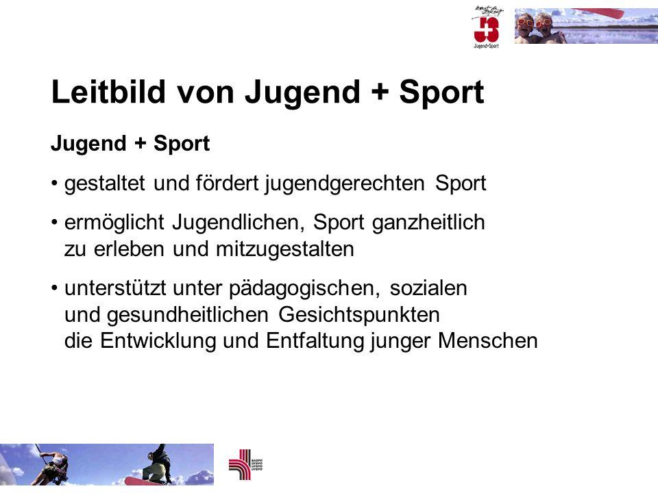 Leitbild von Jugend + Sport Jugend + Sport gestaltet und fördert jugendgerechten Sport ermöglicht Jugendlichen, Sport ganzheitlich zu erleben und mitz
