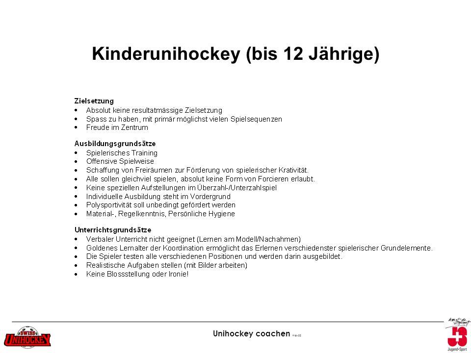Unihockey coachen maw02 Kinderunihockey (bis 12 Jährige)