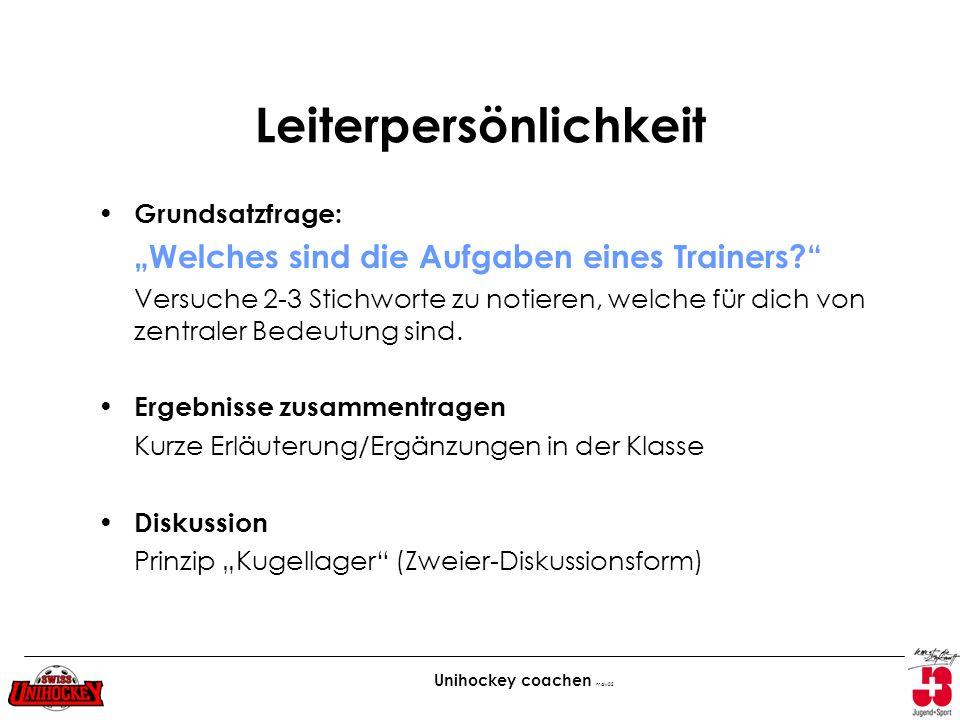 Unihockey coachen maw02 Leiterpersönlichkeit Grundsatzfrage: Welches sind die Aufgaben eines Trainers? Versuche 2-3 Stichworte zu notieren, welche für